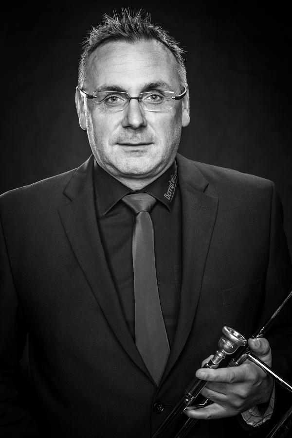 """Stephan Jansen aus Geeste Erste Posaune Hat 2015 die Berrytones gegründet, ist erster Vorsitzender und ist überzeugt: """"Ein Leben ohne Jazz-Musik ist möglich, aber sinnlos."""""""